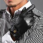 Men's GENUINE LAMBSKIN Leather motorcycle driving POLICE gloves Winter L1137