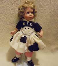 """CUTE PORCELAIN DOLL """"BECKY"""" WITH COW FACE OUTFIT-APPROX 14""""- WITH STAND"""