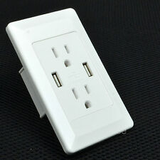 Electrical Outlet Panel Dual USB wall charger port Socket Power Adapter plug