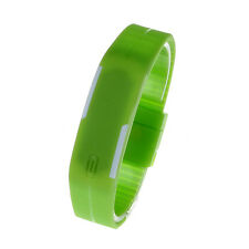 Mens Watches Unisex Silicone Digital LED Sports Bracelet Wristwatch Green uk