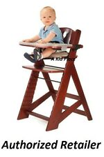 KEEKAROO HEIGHT RIGHT ADJUSTABLE WOODEN BABY HIGH CHAIR AND TRAY - MAHOGANY NEW