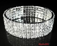 Silver Tone Crystal Clear Diamonte / Diamante 5 Row Stretchy Bracelet - NEW!!
