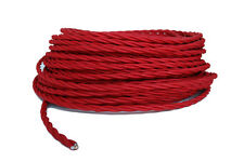 Twisted Red Cloth Covered Cord, 3 Conductor Antique Style Cloth Wire,