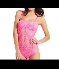 RARE~NWT~Coco Rave Crochet Lace Overlay One Piece Swim Bathing Suit Pink~XL~38C~