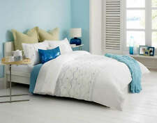 Inari White Embroidered QUEEN Quilt Doona Cover Set