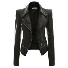Ladies Slim Fit Biker Motorcycle Soft PU Leather Zipper Jacket Coat Outwear Tops