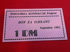 Local Note Bosnia - Garment Industry Prnjavor - 1 Deutsch Mark Dm 1993 - Stamp !