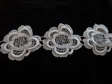 "Venise Lace Flower in White Cotton - 10 yds for $15.99 - 2"" Wide"