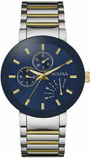 New Bulova 98C123 Two Tone Stainless Steel Blue Dial Day Date Men's Watch