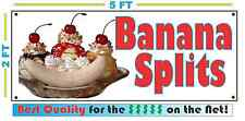 Full Color BANANA SPLITS All Weather Banner Sign Ice Cream Sundae NEW