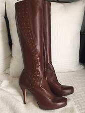 Max Studio Zanna Brown Leather Tall Boots w/Brass Stud Sz 7.5 Cognac Platform