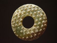 ANTIQUE CHINESE CELADON NEPHRITE JADE BI DISC PENDANT, LATE EASTERN ZHOU DYNASTY