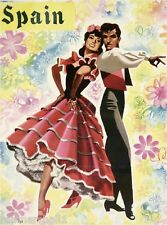Spain Spanish Senorita & Senor Vintage European Travel Advertisement Poster