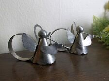 Aluminum metal trumpet angel napkin rings pair.Christmas table decor