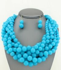 Six Strand Blue Turquoise Lucite Bead Braided Chunky Necklace Earring Set