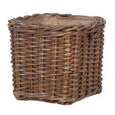 Large Sturdy Lined Willow Wicker Log Toy Storage Carrier Basket Handles in Brown
