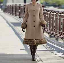 Women's winter long Coat dress jacket Church Faux fur trim - S, M, L, 1x, 2x, 3x