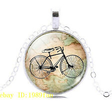 New Vintage Bicycle Photo Tibetan silver Glass Chain Pendant Necklace `@