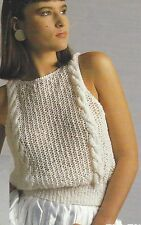 "Ladies Sleeveless Sweater or Top Knitting with cable strap Pattern DK 32-38"" 898"