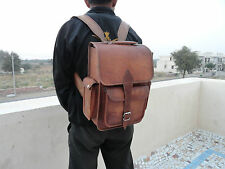 "Real Brown Leather Padded 13"" Macbook Backpack Laptop Rucksack Shoulder Bag"