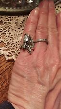Horse Mare and Foal Sterling Silver Ring, Size 6
