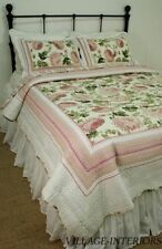 Queen Quilt Set Chic Shabby Sage Rose Pink Peony Floral Stripe Cotton-Clearance