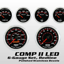 C2 Redline 6 Gauge Set, Stainless Bezels, 0-90 Ohm Fuel Level, Electric Speedo