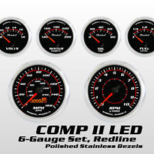 C2 Redline 6 Gauge Set, Polished Stainless Bezels, Red Accents, Electric Speedo
