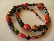 Gorgeous Vintage MURANO MILLEFIORI ART GLASS Lampwork Bead Necklace-24""