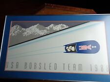 Team USA 1 Olympic Bobsled Print 1988 Framed Matted