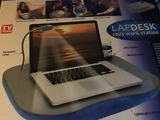 Lapdesk Cozy Work Station Grey Led Reading Lamp Cup Holder Soft Pillow Red New