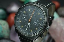 Vintage CROTON Automatic Chronograph Valjoux 7750 Black PVD Steel Men's Watch
