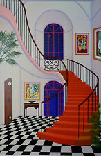 FANCH LEDAN INTERIOR WITH RED STAIRCASE SERIGRAPH SIGNED #372/450 W/COA 23X34