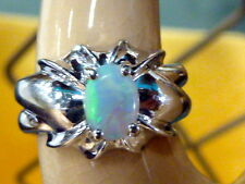 VINTAGE FINE 14K WHITE GOLD NATURAL MINED OVAL CABOCHON OPAL RING SZ 4.25