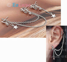 Korean K-pop boa Long Music Note Star Two pin Earrings