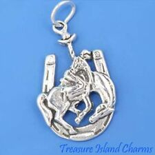 BUCKING BRONCO HORSE WITH COWBOY IN HORSESHOE .925 Sterling Silver Charm