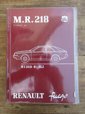 ANCIEN MANUEL DE REPARATION RENAULT FUEGO 1980 CARROSSERIE R1360 R1362