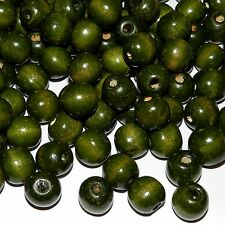 WL642L2 Green 12mm Round Rondelle Wood Beads 4oz Package (140pcs)
