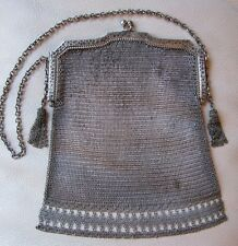 Antique Art Deco Hammered Silver T Frame Fancy Side Tassel  Mesh Purse #21