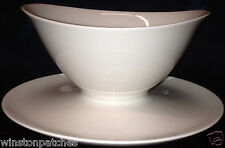SYRACUSE CHINA MONTEREY GRAVY BOAT & ATTACHED UNDER PLATE 16 OZ ALL WHITE