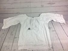 Blanc du Nil Women's Top XL White Solid 3/4 Sleeve Lace 100% cotton