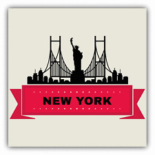 "New York City Silhouette Statue Of Liberty Car Bumper Sticker Decal 5"" x 5"""
