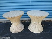 Pair Sheaf of Wheat End Table Bases 2 Stand Side Rattan Bamboo McGuire Style