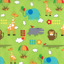 BUNGLE JUNGLE MODA 39501 16 TIM AND BECK 1/2 YARD GIRAFFE ELEPHANT ON LIME GREEN