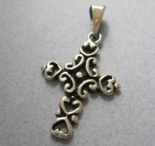 Mexican 925 Silver Silver Swivels Modern Design Oxidized Etched Cross Pendant