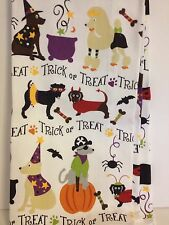 2 DOGS IN HALLOWEEN COSTUME KITCHEN TEA TOWELS PIRATE WITCH DEVIL LADYBUG WIZARD