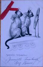 1910 Postcard: Siamese Cats Looking in the Mirror w/Red Ribbon Add-On
