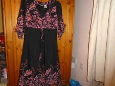 Pretty black and pink pattern dress, 3/4 sleeves LA REDOUTE, sz 10, NEW see desc