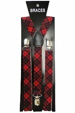 Red Tartan Punk Braces Suspenders 80s Scottish Fancy Dress Costume