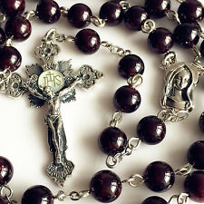 925 Sterling Silver Garnet Gemstone BEAD ROSARY CROSS CRUCIFIX CATHOLIC NECKLACE